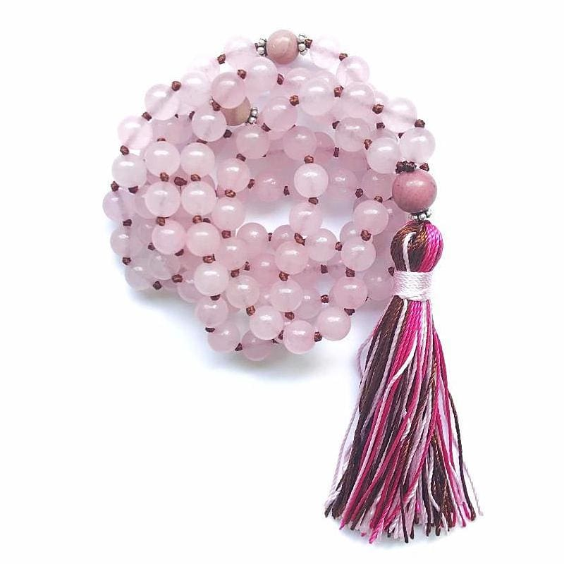 Collier Mâla Tibétain - Quartz Rose (Chakra Coeur) - MALA