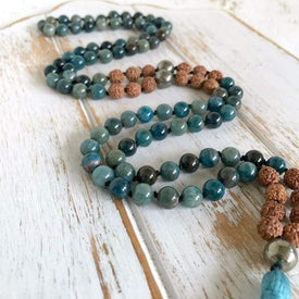 Collier Mala Traditionnel - RUDRAKSHA & APATITE - Bénédiction & Dons - MALA