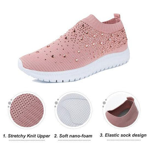 Women's Crystal Breathable Orthopedic Slip On Shoes