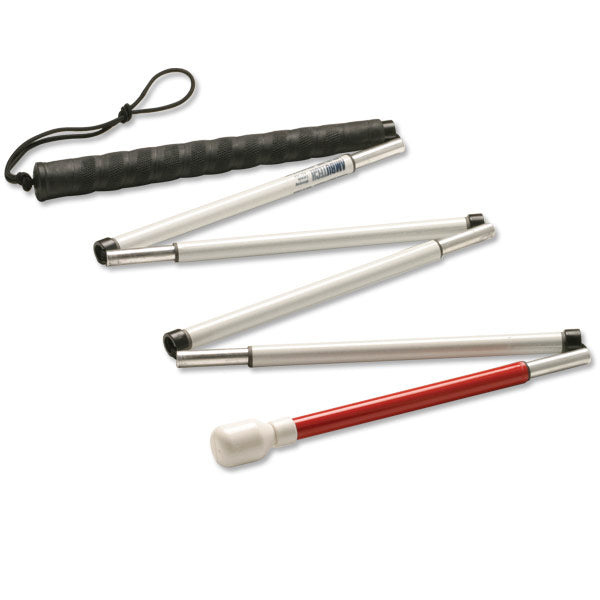 "60"" - 6 Sections Straight Handle Folding Mobility Cane, Pencil Tip"