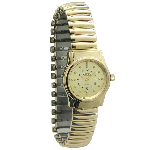Braille Gold Tone Womens Watch with Expansion Band