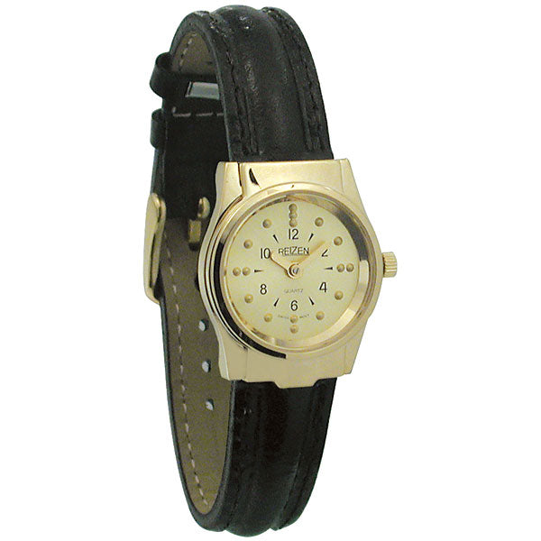 Braille Womens Watch -Gold Tone, Leather Band