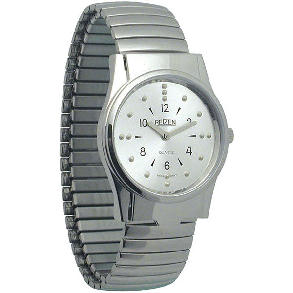 Men's Chrome/Gold Braille Watch-Expansion Band
