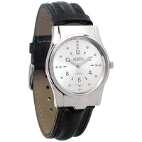 Mens Braille Watch -Chrome, Leather Band