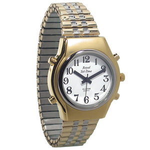 Ladies Spanish Royal Tel-Time Bi-Color Talking Watchl-Expansion Band Calendar
