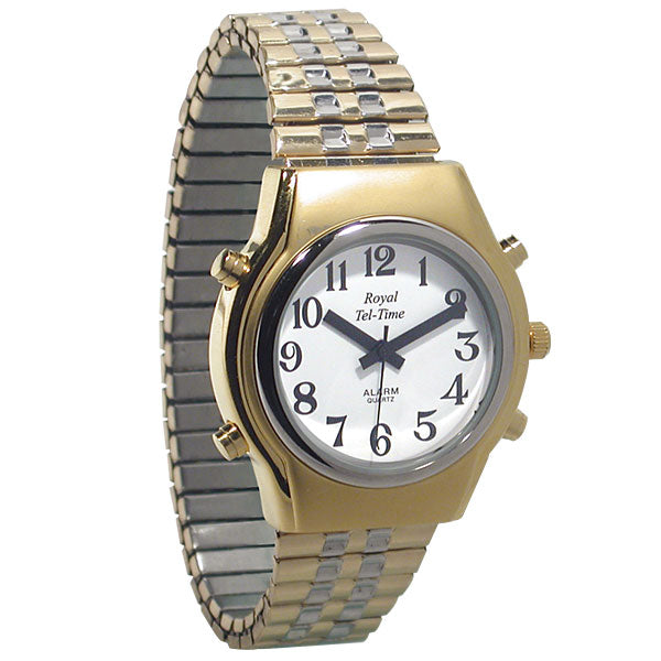 Mens Spanish Royal Tel-Time Bi-Color Talking Watch-Expansion Band Calendar