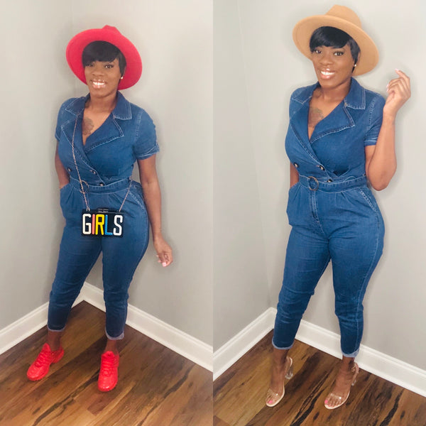Staying Busy Denim Jumpsuit