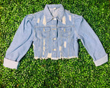 Distressed Puff-Sleeve Denim Jacket