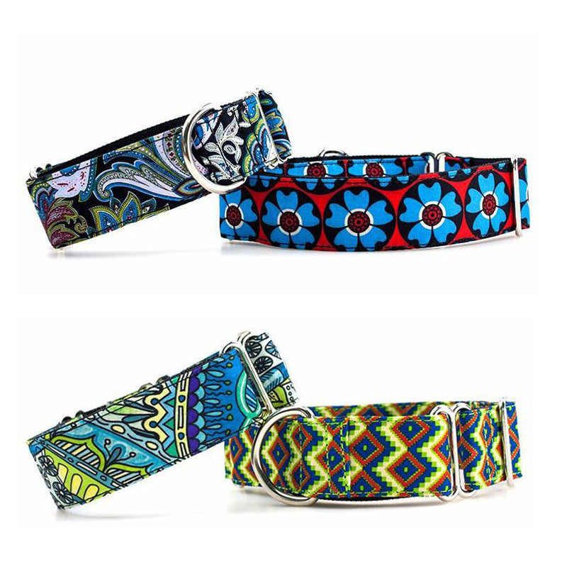 Personalized Fabric Super Strong Durable  Martingale Collars for Dogs Heavy Duty Nylon Dog Collar 2.5cm to 3.8cm Wide Necklace