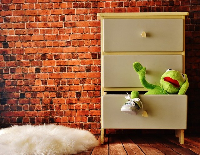 staying organized with kids kermit cabinet