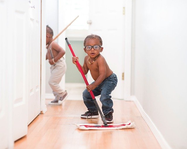 staying organized with kids child mopping