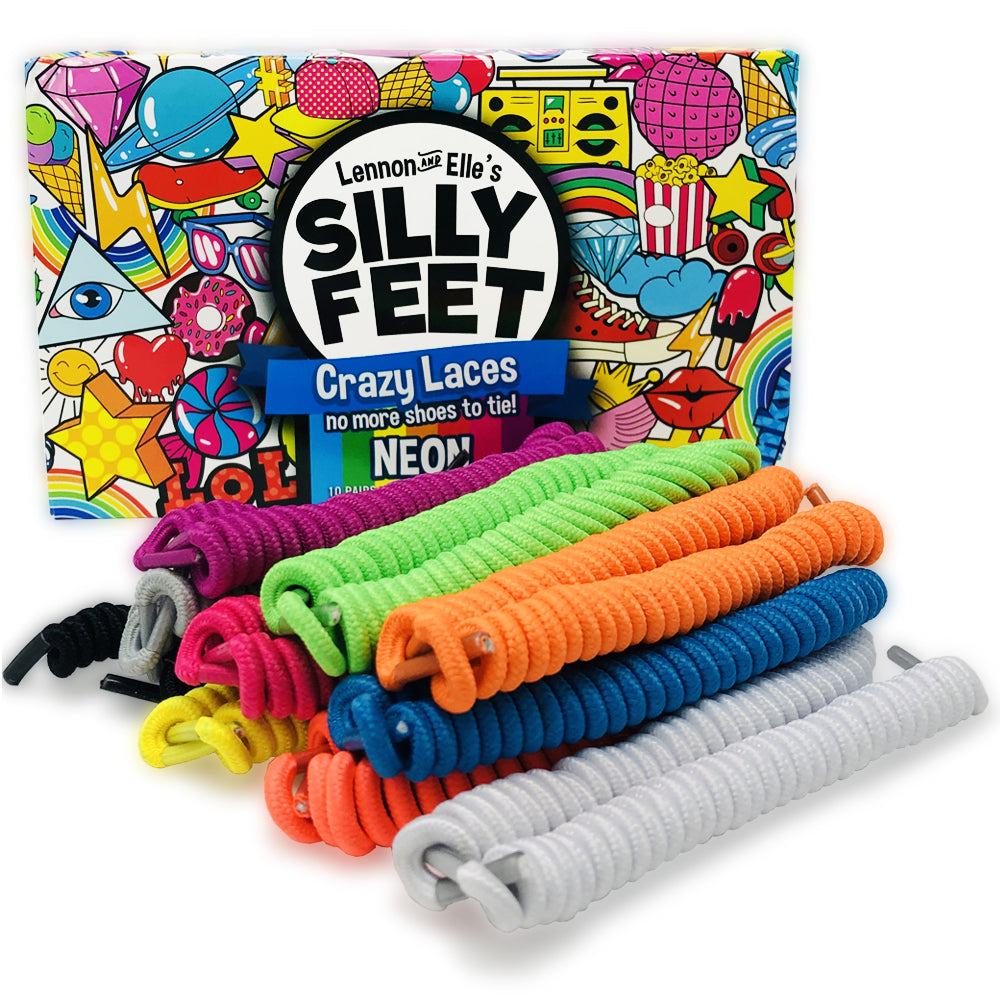 Silly Feet No Tie Shoelaces 10 Pairs Neon