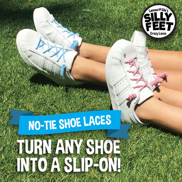 Silly Feet No Tie Shoelaces Kids Shoe Laces 10 Pairs Pastel