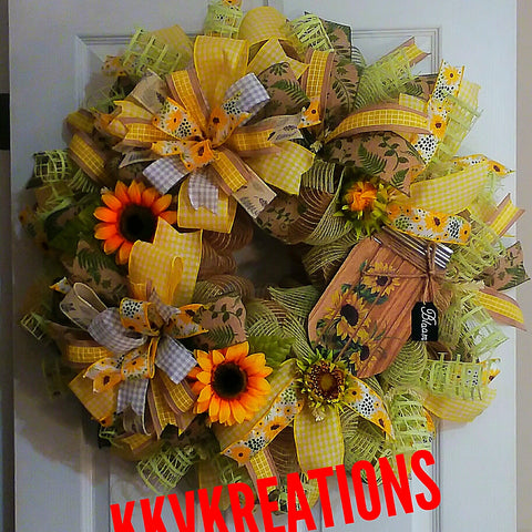 Sunflower, mason jar, summertime, everyday, front door wreath