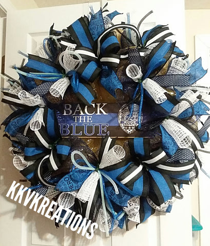 Law enforcement blue lives matter back the blue police officer memorial wreath