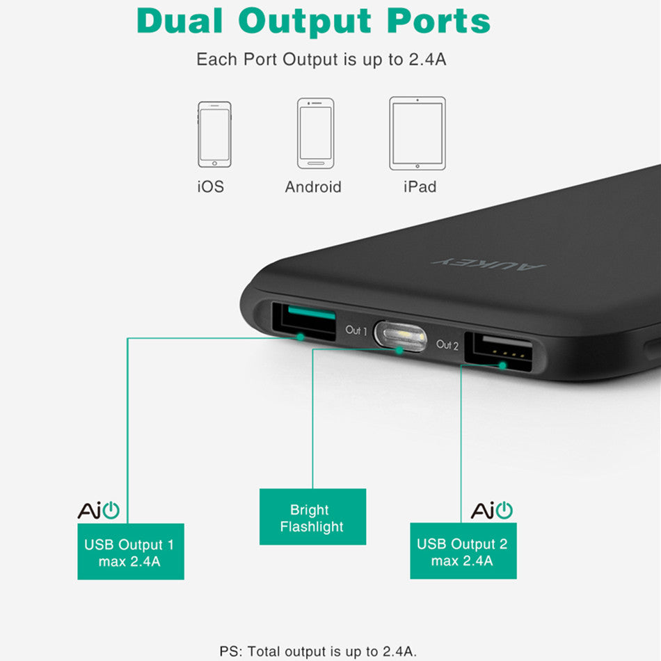 AUKEY 10000mah Portable Power Bank Travel External Battery Slim Powerbank Dual Port 2.4A Battery Pack For iPhone 7 6s Poverbank