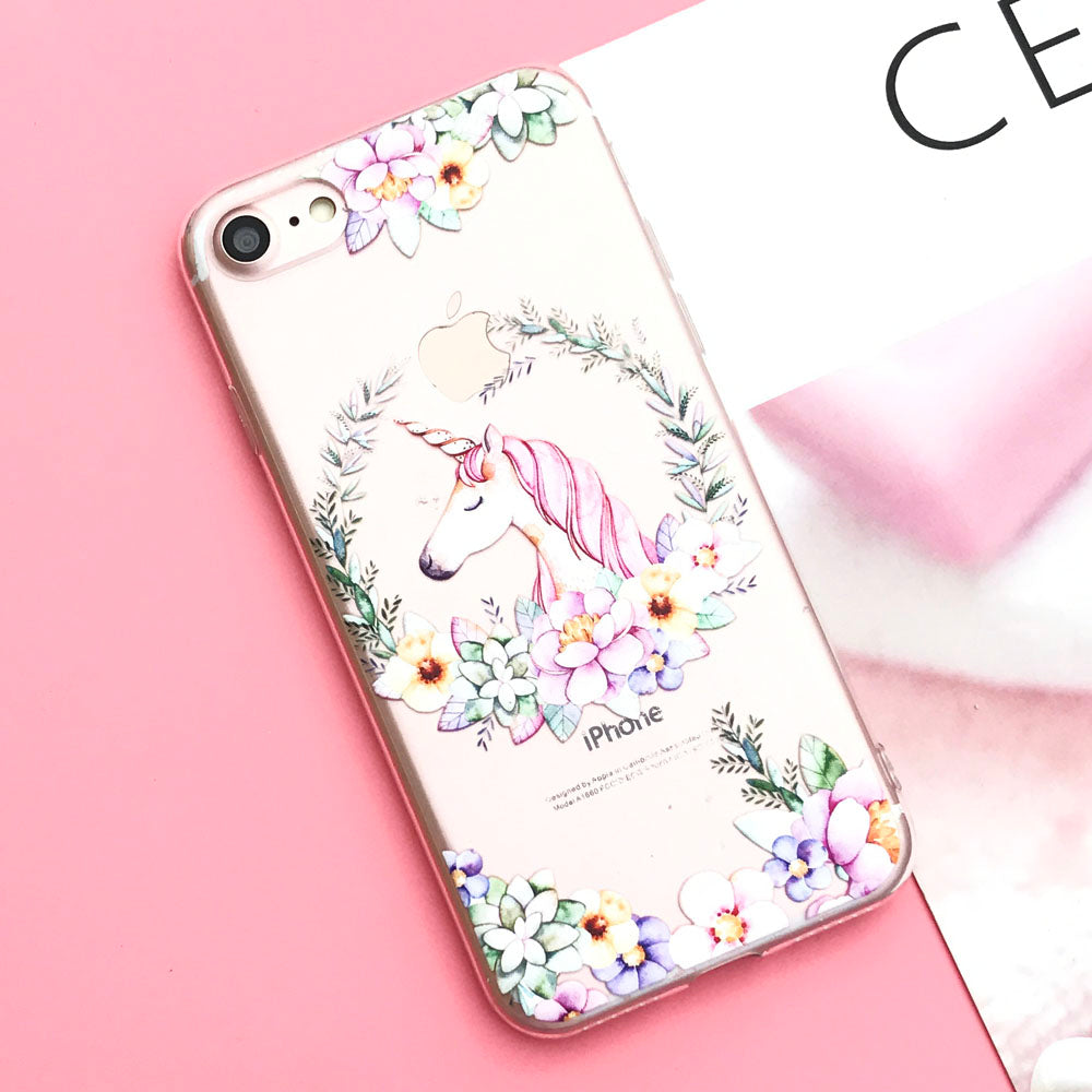 EKONEDA Silicone Case For iPhone 7 7Plus 6 6S 6Plus 5 5S SE Case Soft TPU Cover Flower Leaves Bird For iPhone 6S 8Plus X