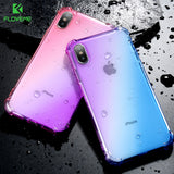 FLOVEME Gradient Anti-knock Case for iPhone X Silicon Clear Cover Fundas