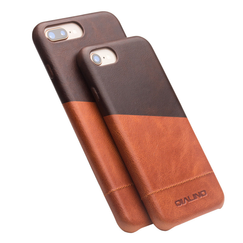QIALINO Genuine Leather Back Case for iPhone 8 Fashion Luxury Handmade Ultrathin Phone Cover for iPhone 8 Plus