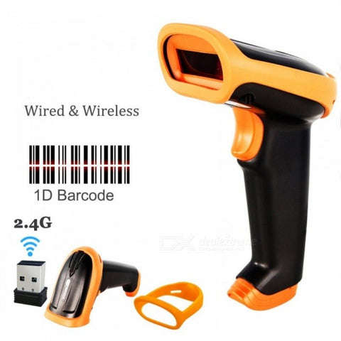 Wireless Barcode Scanner 2.4G 30m Laser Bar Code Reader Wireless/Wired For POS and Inventory USB 2.4G HW-S2 (Wireless)