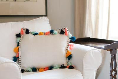 Throw Pillow Cover - White with Fun Tassels