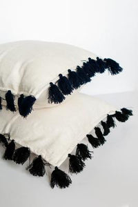 Throw Pillow Cover - Cream and Navy Tassels
