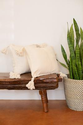 Throw Pillow Cover - Cream and Tassels