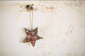 Red Spiral Star Ornament
