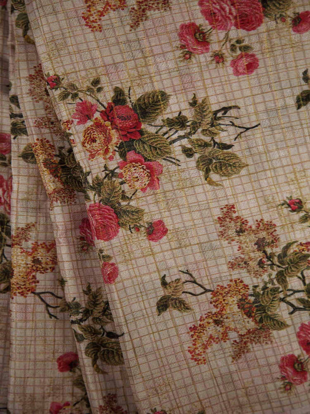 Checkered Floral Jute Silk Fabric.