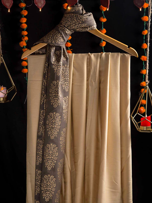 Beige Modal Plain Top + Grey Cotton Gold Printed Dupatta (2 pc set)