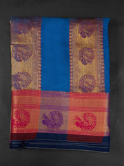 Blue Narayanpet Handloom Mercerized Saree With Blouse