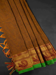 Rust Brown Narayanpet Handloom Mercerized Saree With Blouse