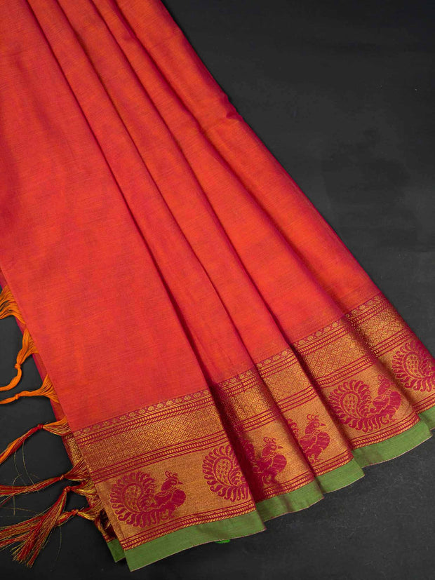 Pink Narayanpet Handloom Mercerized Saree With Blouse