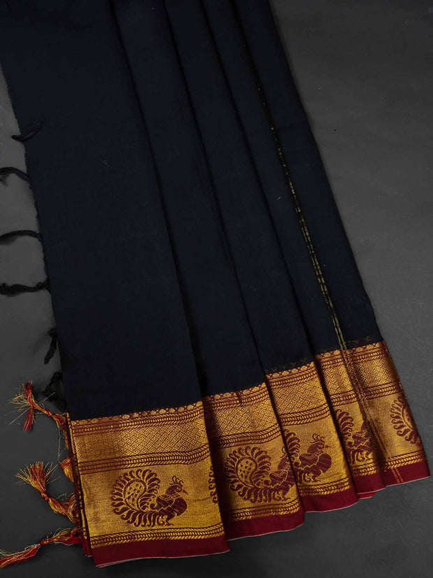 Black Narayanpet Handloom Mercerized Saree With Blouse