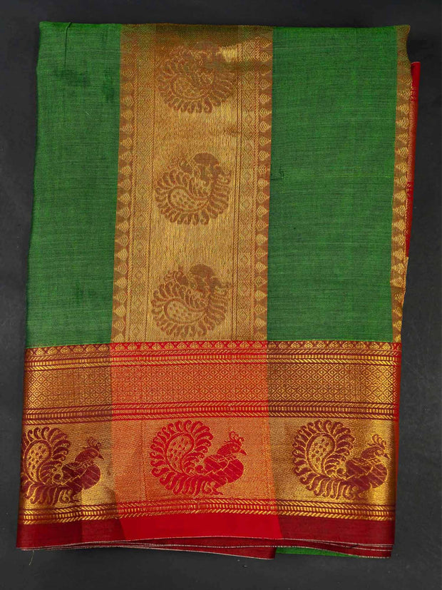 Green Narayanpet Handloom Mercerized Saree With Blouse