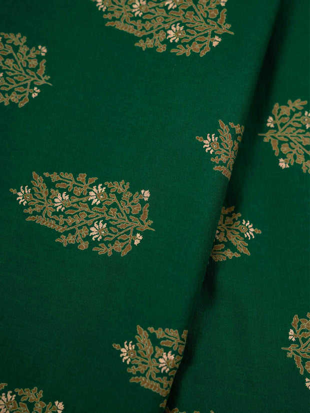 Green Modal Silk Printed Fabric.