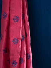 Blue Khadi Top + Muslin Silk Dupatta (2 pcs Kurti Set)
