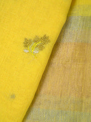 Yellow Embroidered Linen Dupatta