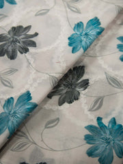 White Cotton Schiffli Printed Fabric.