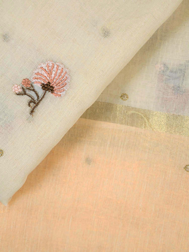 Ivory Embroidered Linen Dupatta