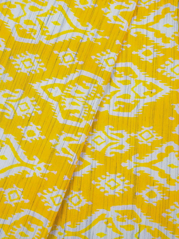 Yellow Cotton Slub Printed Fabric