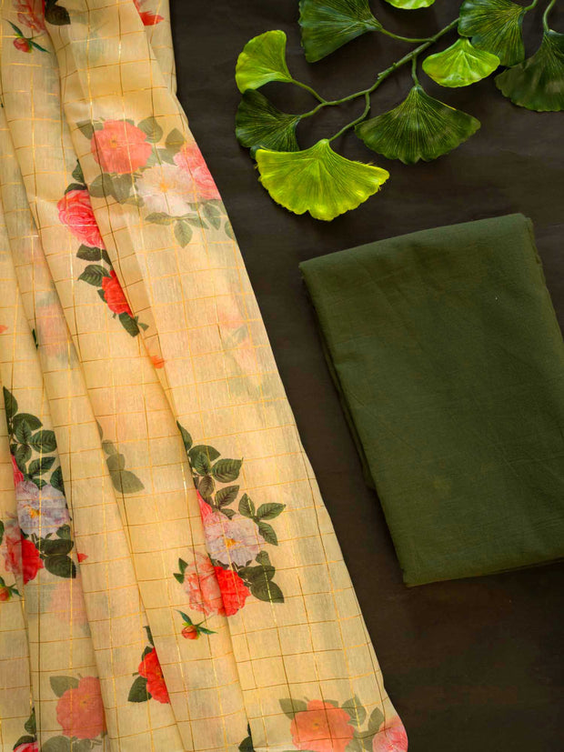 Pale Yellow Digital Printed Semi Chanderi Saree + Cotton Blouse