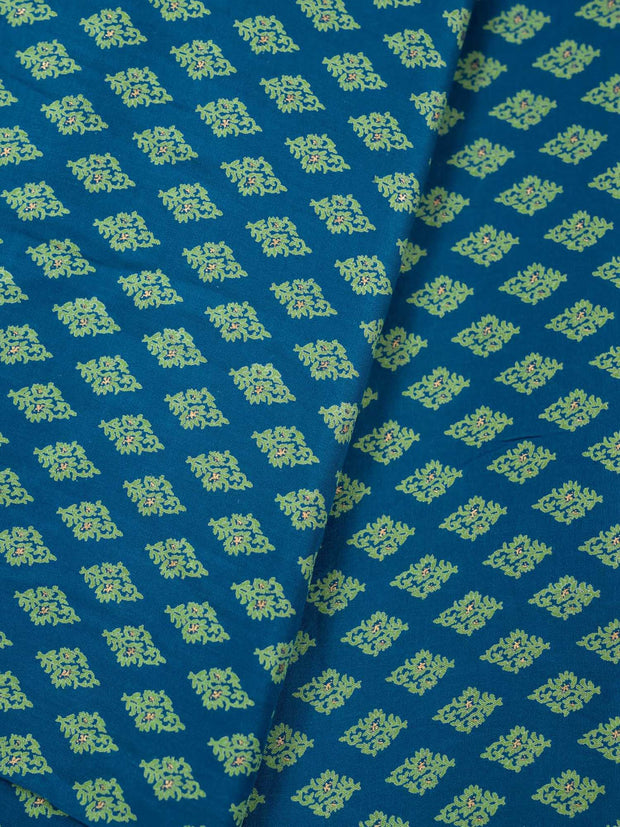Blue Modal Silk Printed Fabric.