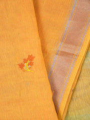 Orange Embroidered Linen Dupatta