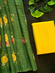 Leaf Green Digital Printed Semi Chanderi Saree + Cotton Blouse