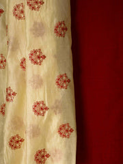Brick Red Khadi Top + Muslin Silk Dupatta (2 pcs Kurti Set)