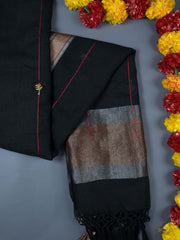 Black Embroidered Linen Dupatta