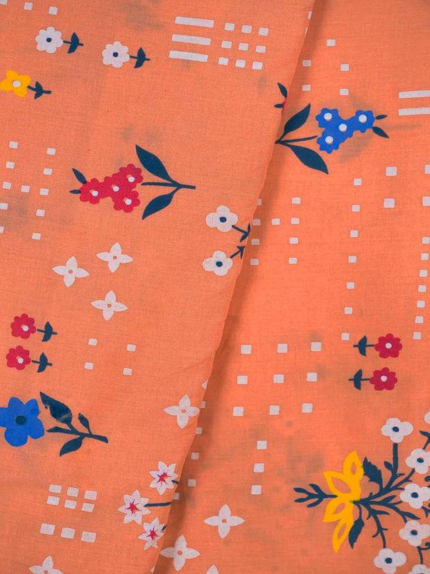 Peach Cotton Printed Fabric