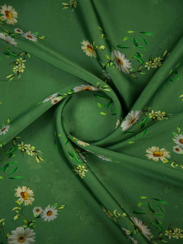 Green Floral Satin Georgette Fabric