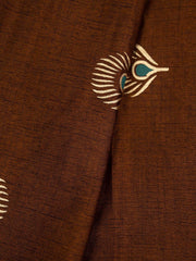 Brown Rayon Gold Block Printed Fabric